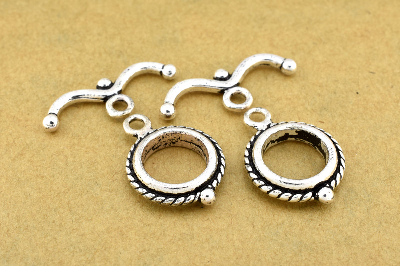 Silver Toggle Clasps for Bracelets Silver plated Round Clasps for jewelry making, Bali Clasps for necklaces, Kumihimo findings closures