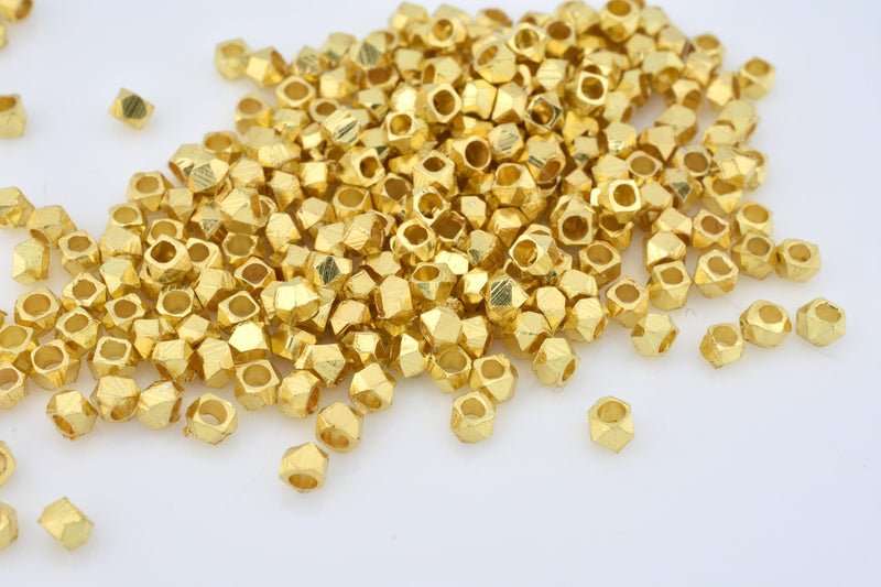 2.5mm - 500pc Tiny gold plated spacer beads for jewelry making, faceted spacer beads, Diamond cut spacer beads - REAL GOLD PLATED