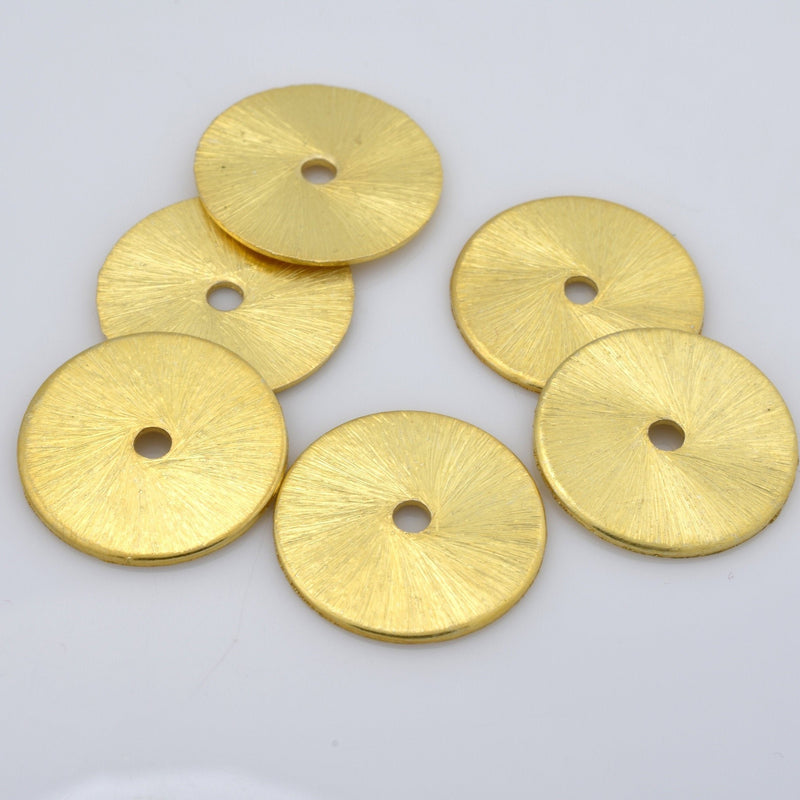 14mm - 6pc flat Gold plated disc spacer beads brushed gold plated heishi spacers for jewelry making washer