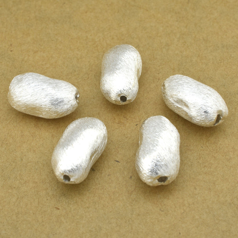 14mm - 5pc Silver plated Bean shape beads, Silver nugget beads, brushed silver beads for jewelry making, Tibetan silver beads