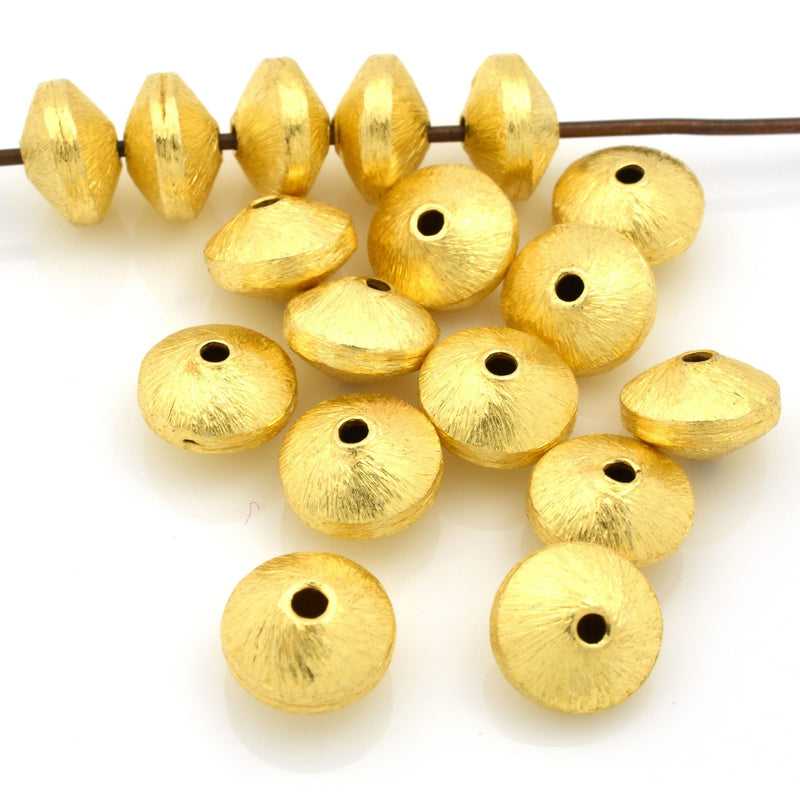 8mm -10pc gold bicone beads, gold plated Bicone beads, brushed gold beads, jewelry supplies, gold spacer beads, 22kt gold plated