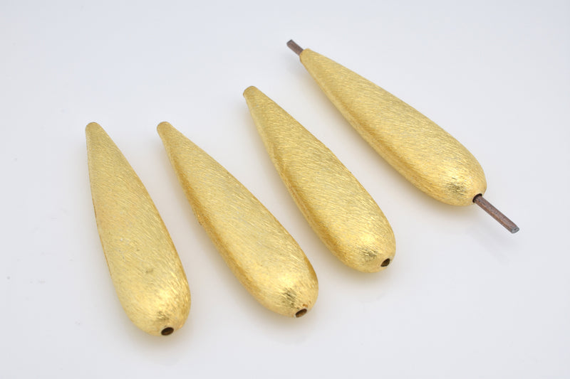 37mm - 4pc gold teardrop Shape beads, earring findings top to bottom drilled, gold plated brushed finish drop beads