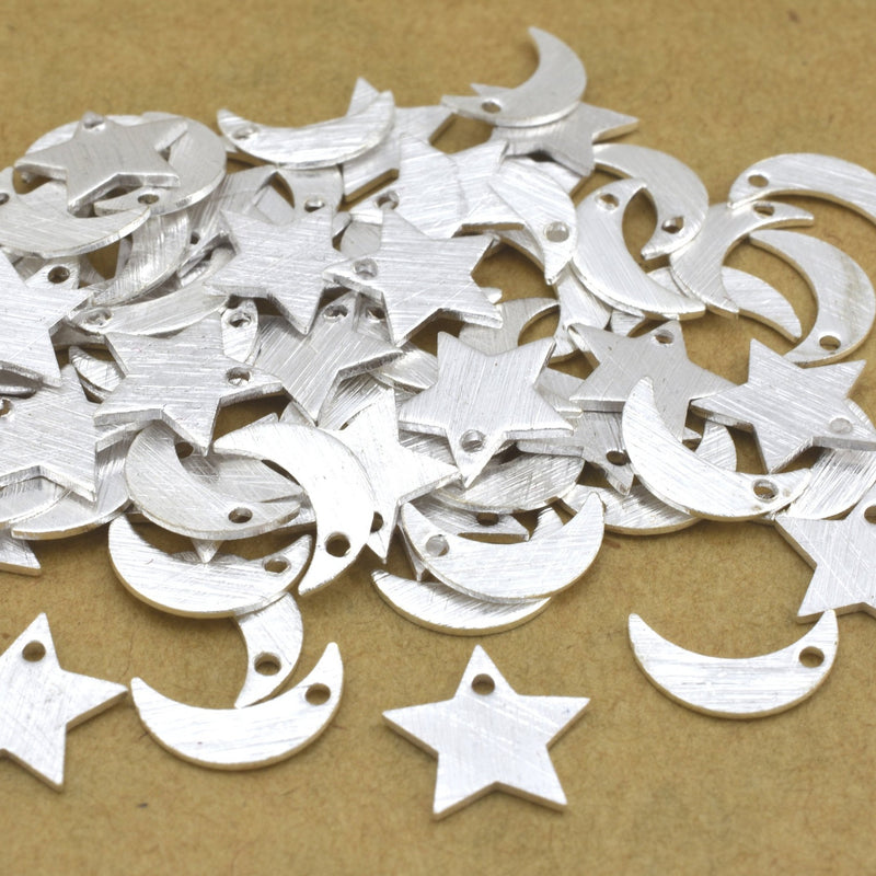 71pc Tiny Silver 9mm moon and 8mm stars with hole to dangle, 29 stars / 42 moon approximate, Silver plated over solid Brass brushed finish