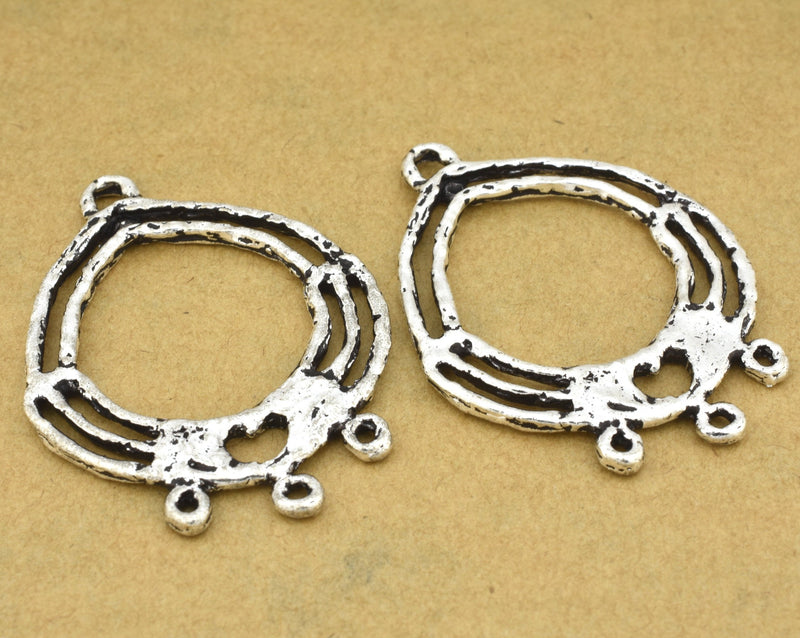 2 boho chic earring components, antique silver plated, handmade earring making findings