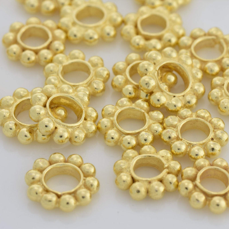 7.5mm - 26pc Shiny Gold heishi beads, Large Hole Gold Plated Daisy Spacer Beads, Bali gold spacer beads for jewelry making / 3mm hole