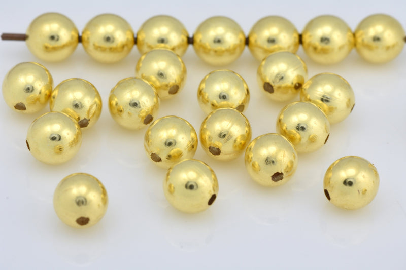 5mm - 100pcs Round shiny Ball Beads for jewelry making, Gold plated beads, gold spacer beads