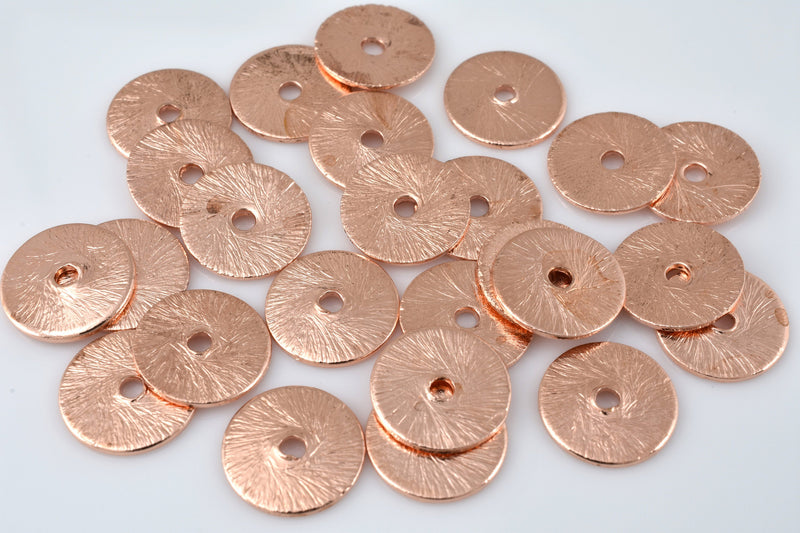 Flat Copper Disc Spacer Beads, Brushed Finish 10mm -25pcs