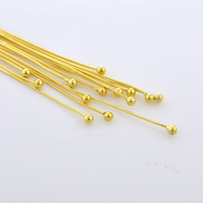 68pc - Gold plated round ball head pins 55mm Long / 2 inches long / 24 gauge - Half Hard Wire