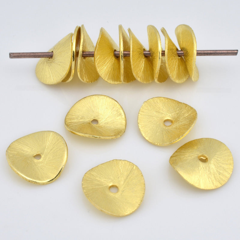 Gold Wavy Disc Spacer Beads, Brushed 12mm - 14pcs