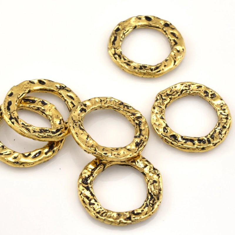 16mm - 4pcs Gold Connector Rings Washers, Artisan organic links, gold plated washer Link charms, handmade gold jewelry making Circles