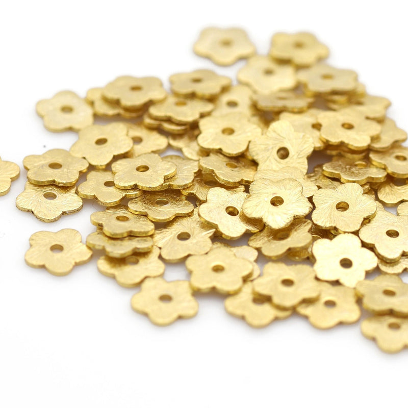 6mm - 160pcs Gold flower beads, Gold flat disc, Brushed Disk spacers beads, Gold plated Heishi disk beads for jewelry making, Gold Beads