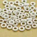 5mm - 72pc spring spacer beads, silver plated, Shiny Silver spacers for jewelry making, coil spacer beads