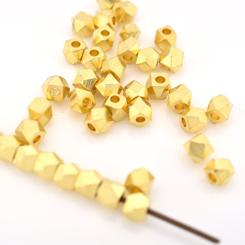 4mm - 42pc Tiny gold plated spacer beads for jewelry making, faceted spacer beads, Diamond cut spacer beads