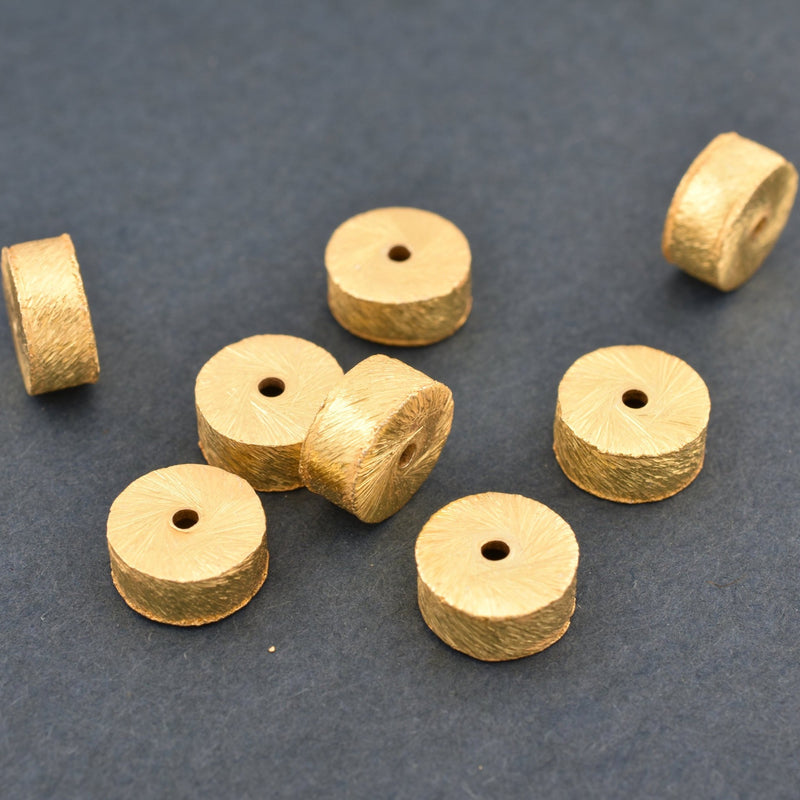 8mm -8pcs Gold Cylinder Beads - gold spacer beads - brushed Gold plated drum beads for jewelry making - Barrel Beads