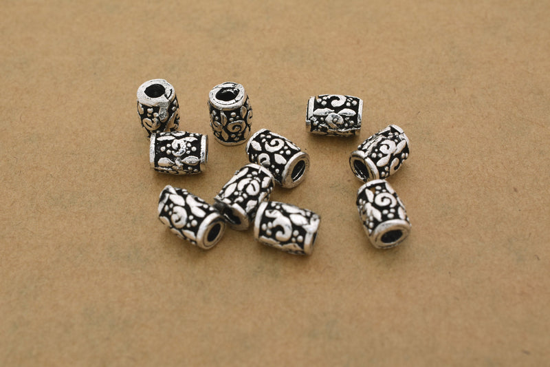 6mm - 10pc Silver Plated Bali style beads - Antique finish metal beads -Antique Silver Beads Active