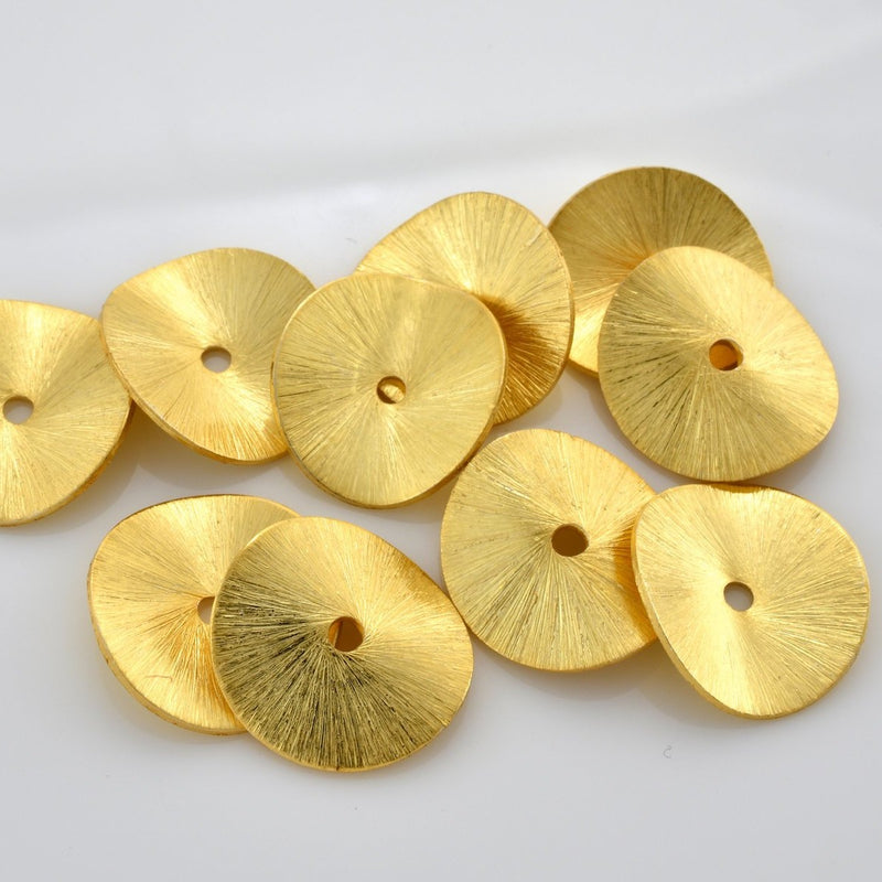 22mm - 5pc Brushed Gold Potato Chips Beads - Gold Plated Wavy Spacer Beads for Jewelry Making, Large wavy spacers