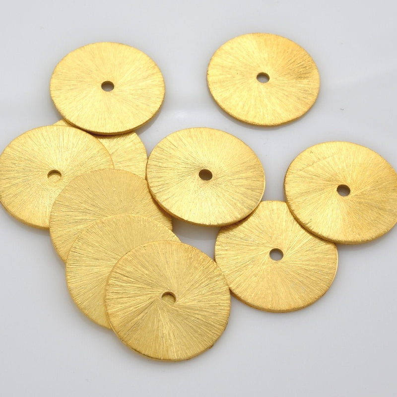 18mm - 5pc brushed gold washer beads, flat spacer beads, brushed for jewelry making findings supply