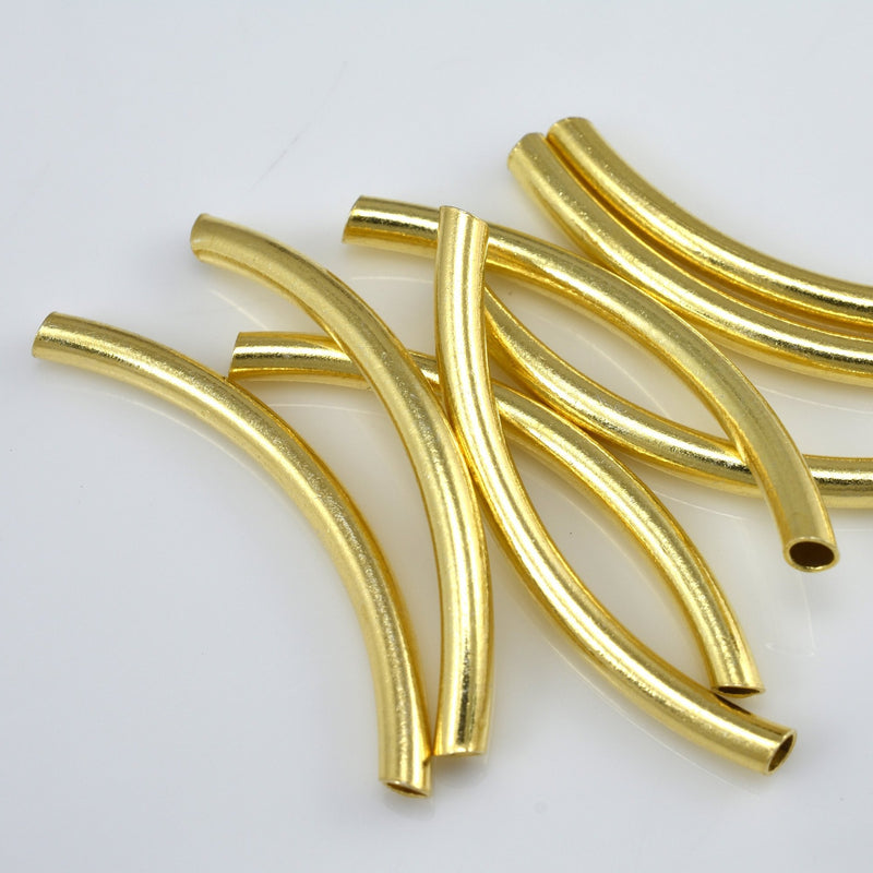 40mm - 8pc Gold curved tube beads for jewelry making, Gold plated tubes, size may vary 39 to 40 mm