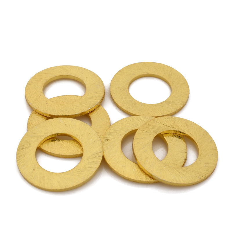 18mm - 6pc Connector Rings gold washers Artisan organic links, brushed gold plated washer Link charms, handmade jewelry making Circles