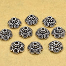 Bali silver bead caps 9mm Antique Silver plated bead caps for jewelry making, metal bead caps, pewter bead caps, beadcaps 10pcs