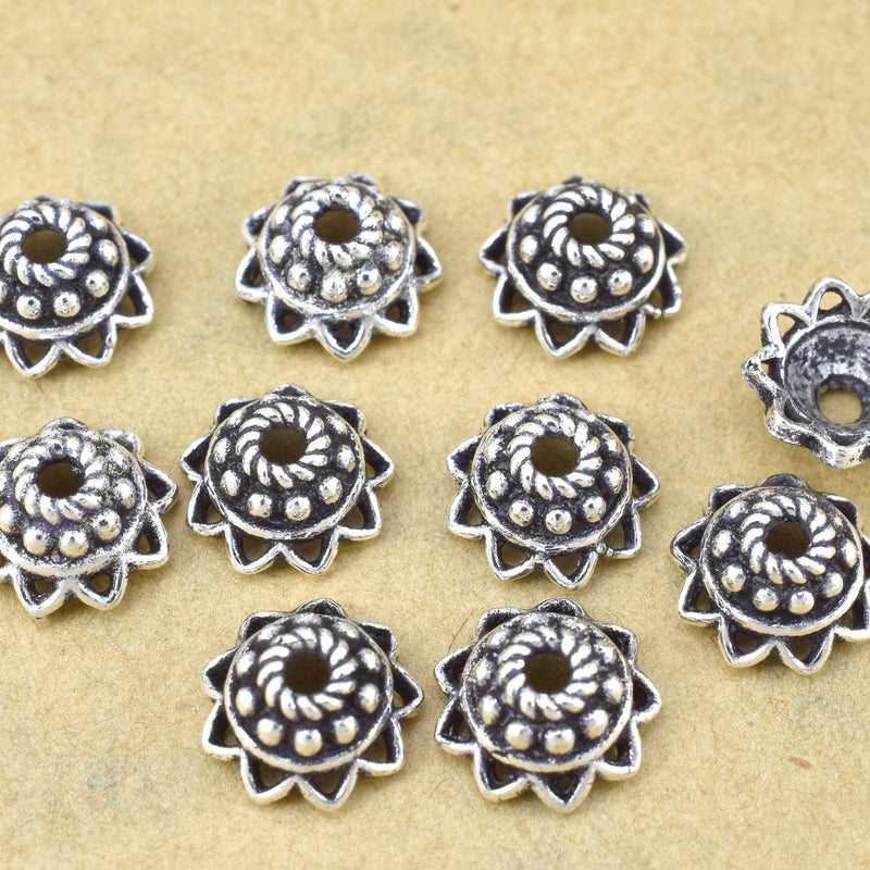 9mm (10) Silver plated Bead caps for jewelry making, Bali bead caps, antique finish on Brass metal beads, 1.5mm hole for leather cords