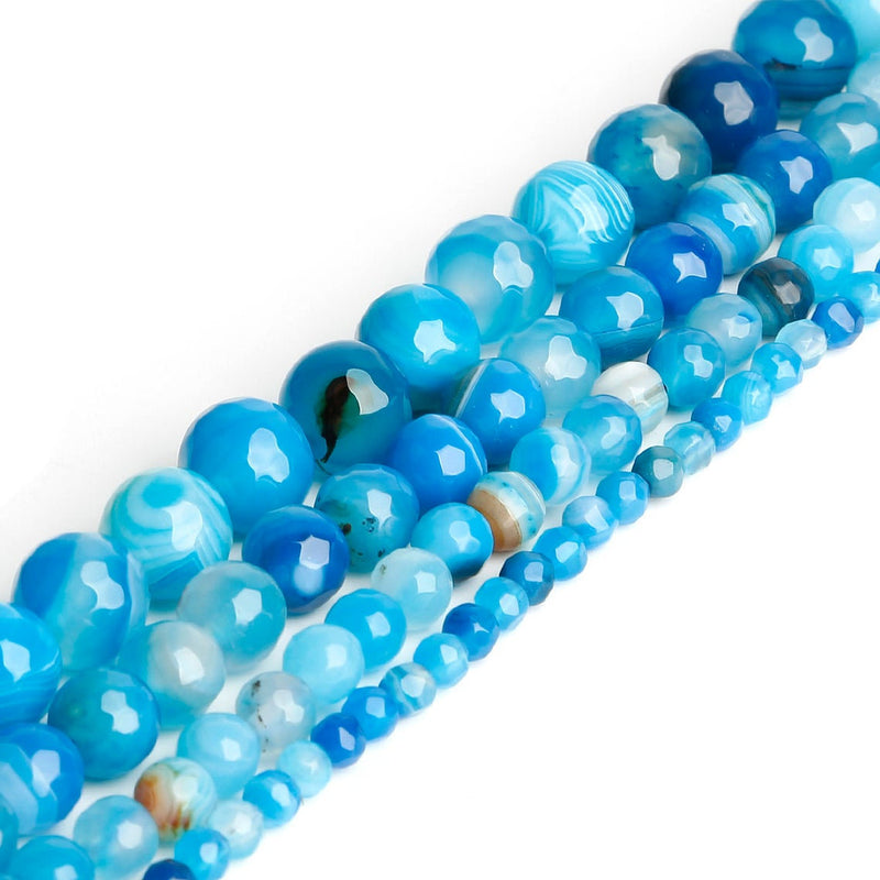 "8mm Blue Lace Banded Agate Round Faceted Beads, Blue Gemstone DIY Beads, Semi-Precious Stone, Blue Stripe - 15"" Full Strand"
