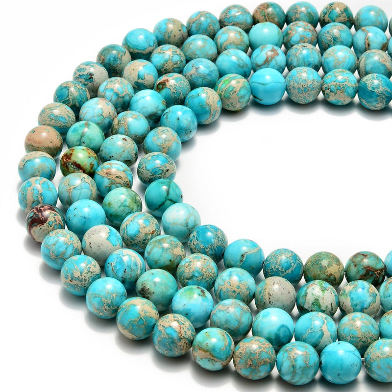 "8mm Turquoise Imperial Beads Sea Sediment Jasper Beads, Blue Turquoise Beads - Full 14.5"" Strands - Wholesale Available"