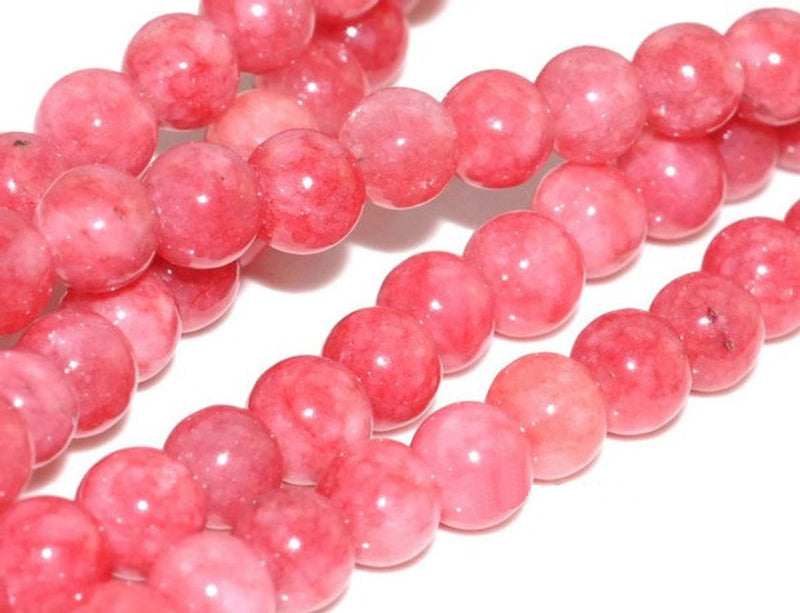 8mm Rhodochrosite Cherry Pink  Jade Gemstone Pink Red Round Loose Beads 15 inch Full Strand