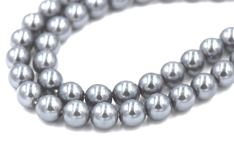 "8mm Silver Grey Pearl Coated Czech - Full 15.5"" Strands - Wholesale Available"
