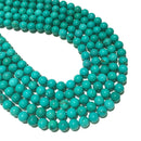 "8mm Natural Green Turquoise Beads Gemstone Spacer Round Beads for Handcraft Bracelet Necklace DIY Jewelry Making Design 15.5"" Long Strands"