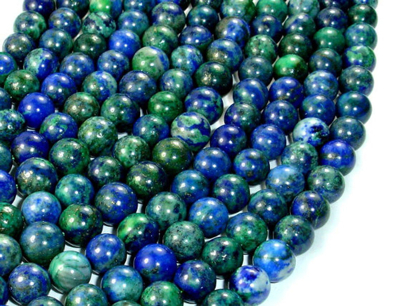 8mm Smooth Malachite Azurite Beads Grade AAA Smooth Round 8mm,-  Full 15.5 Inch strand AAA Quality Bestseller