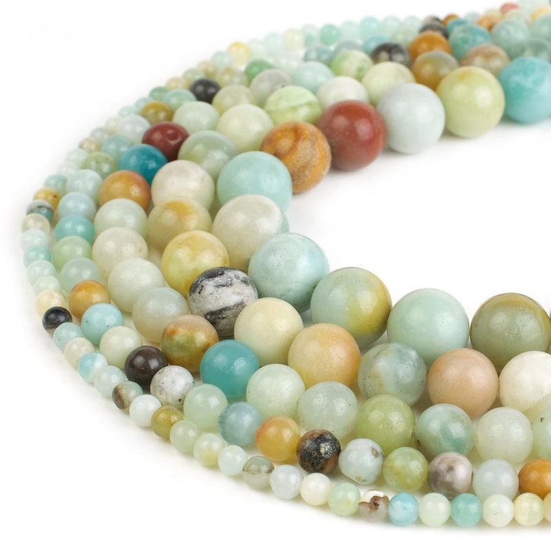 "8mm Natural Multi Amazonite Beads  - Full 15"" Strands - Wholesale Available"