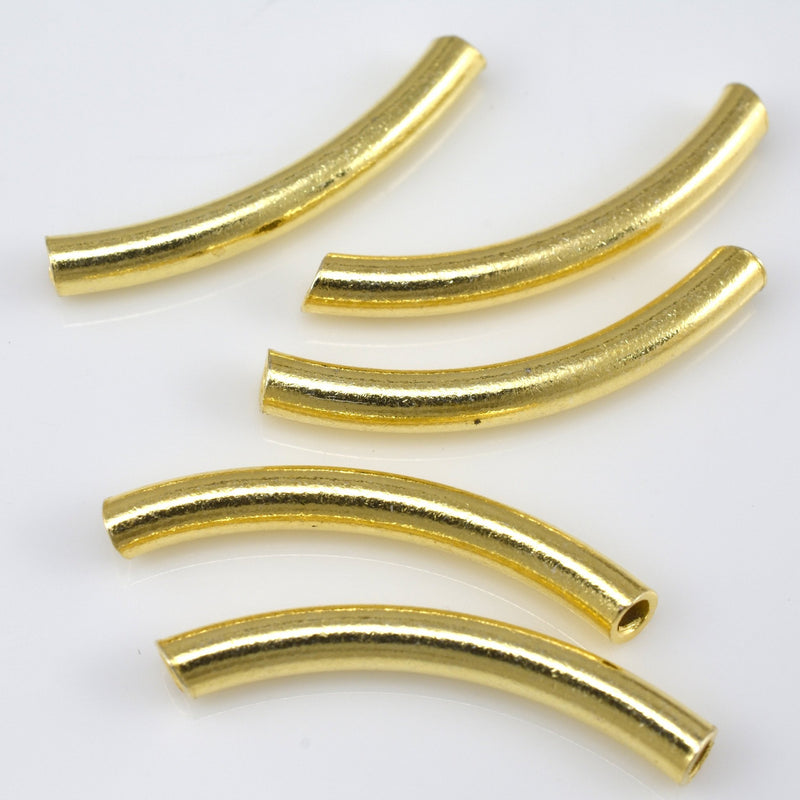 25mm - 5pc  gold curved tube beads, gold plated shiny tube beads for jewelry making, size 25 to 26mm Curved Pipe Beads