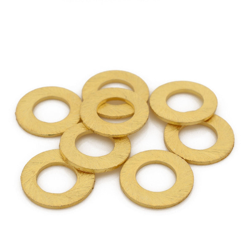 14mm - 8pc Connector Rings gold washers Artisan organic links, brushed gold plated washer Link charms, handmade jewelry making Circles