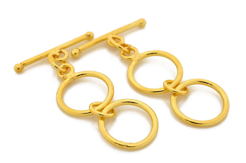 3 Ring Extendable Toggle, Gold Plated Closure, Jewelry Findings, Adjustable Toggle Clasp - Smooth and Plain, Clasps for Bracelet - 37mm Long
