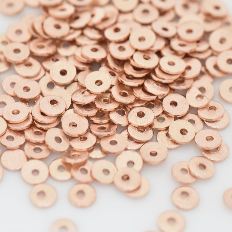 4mm - 200pc Rose Gold Flat Disk Spacer Beads, brushed Rose gold plated Disc spacers for jewelry making, Bulk Heishi spacers