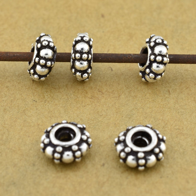Antique Bali Silver Spacer Beads 10mm -10pcs