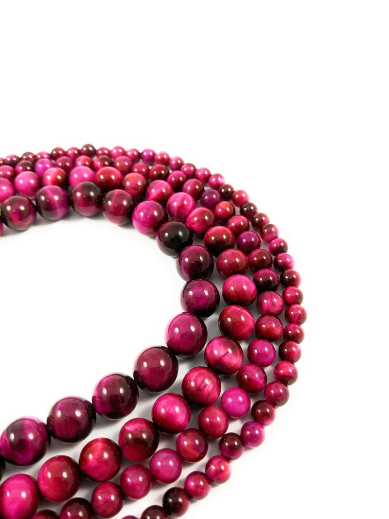 8mm Red Natural Enhanced Color Tiger Eye Round Beads, fuchsia color shade Tiger Eye Gemstone, 15.5' Full Strand