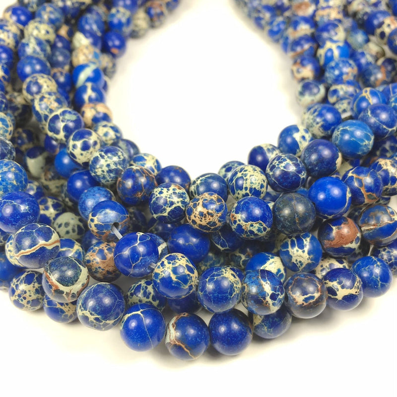 8mm - 20pcs Blue Sea Sediment Jasper Beads for Bracelet and necklace making, Blue Imperial Beads for jewelry making - Wholesale Available