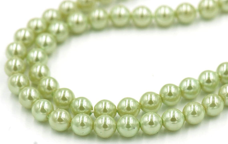 "8mm Green Pearl Coated Czech - Full 15.5"" Strands - Wholesale Available"