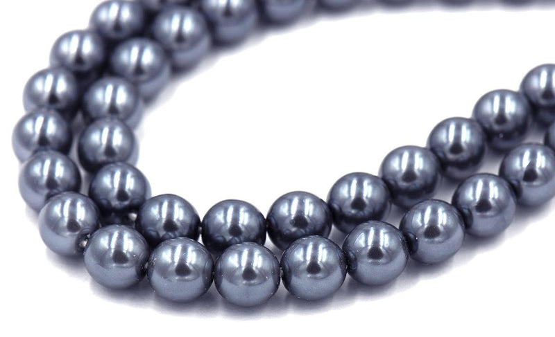 "8mm Blue Grey Pearl Coated Czech - Full 15.5"" Strands - Wholesale Available"