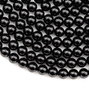 "8mm A+ Genuine Natural Black Tourmaline Beads Round Beads High Quality Black Gemstone Full 15.5"" Strand"