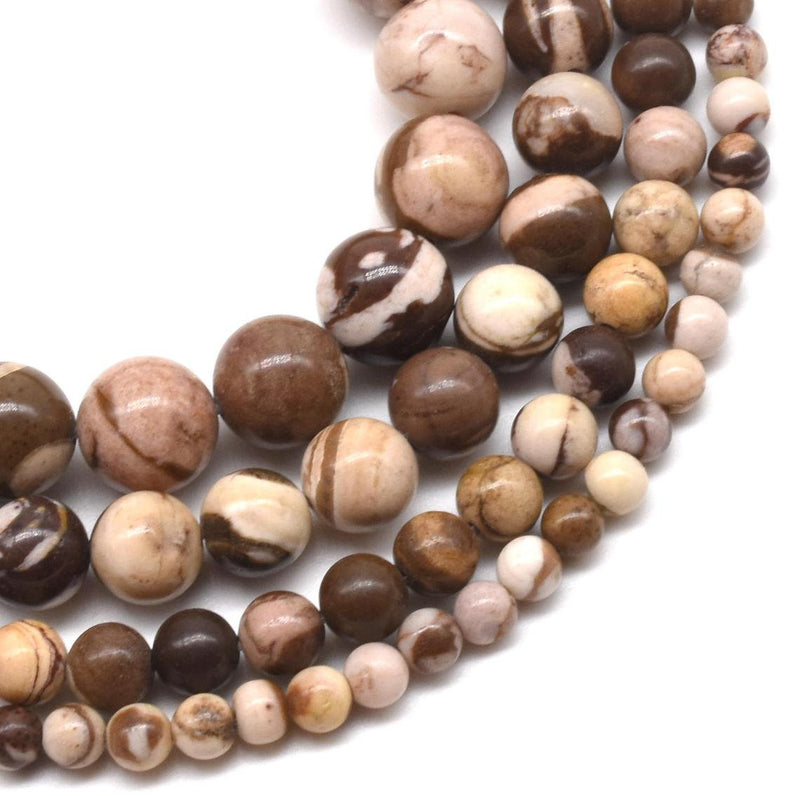 "8mm Australian Zebra Jasper, Rs Natural Gemstone Round Loose 15"" Strand"