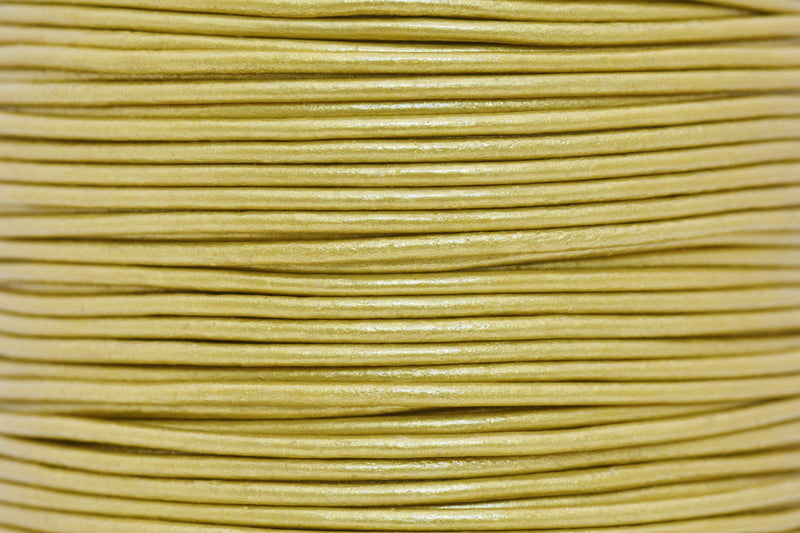 1mm Metallic Gold Leather Cord - Round