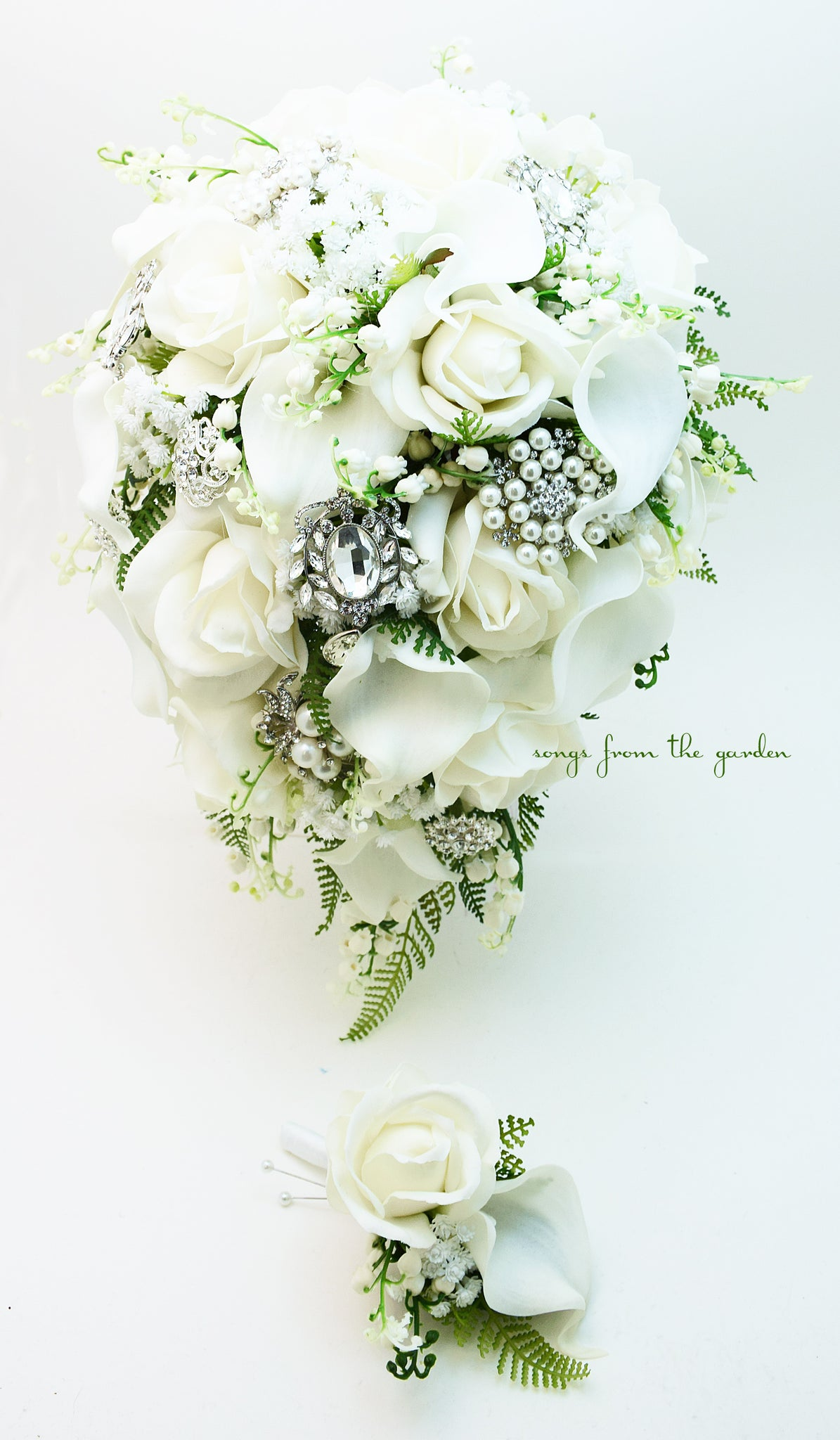 Cascade Bridal Bouquet White Callas Real Touch White Roses, Rhinestone and Pearl Brooches