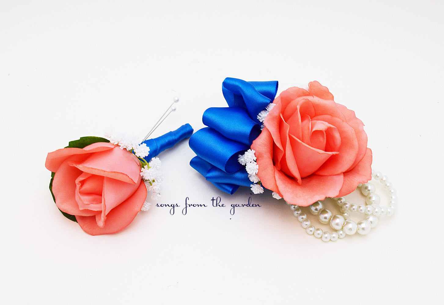Coral and Royal Blue Real Touch Rose Wedding Boutonniere & Wedding Corsage