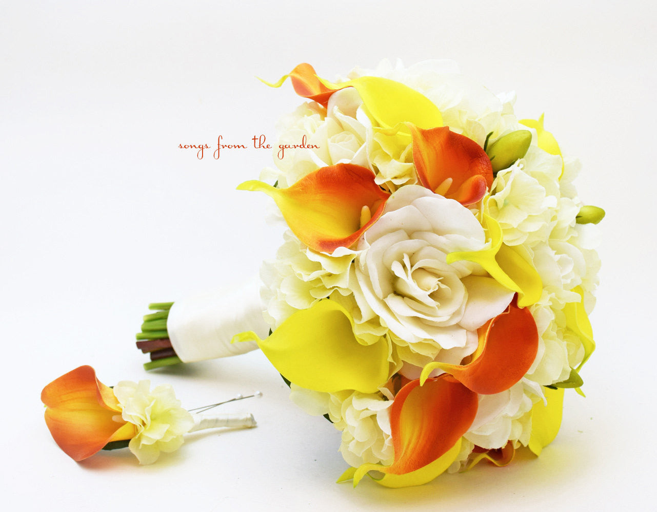 Orange and Yellow Real Touch Calla Lily Hydrangea Bridal Bouquet Groom's Boutonniere