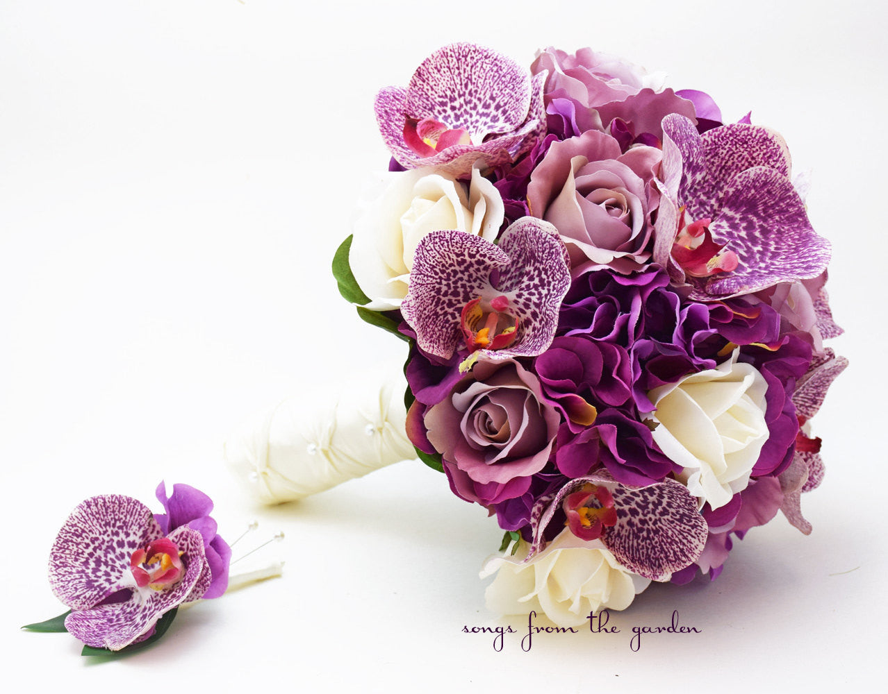 Orchids Roses Hydrangea Wedding Flower Package Bridal Bouquet Real Touch Roses Silk Roses Hydrangea