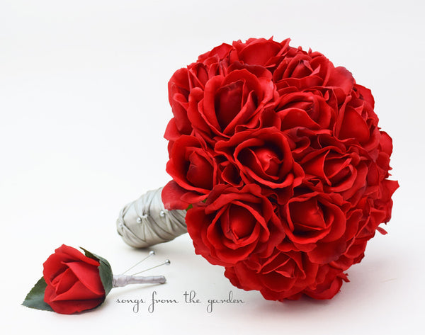 Red Roses Bridal Bouquet Real Touch Bridal Bouquet Roses & Groom's Boutonniere