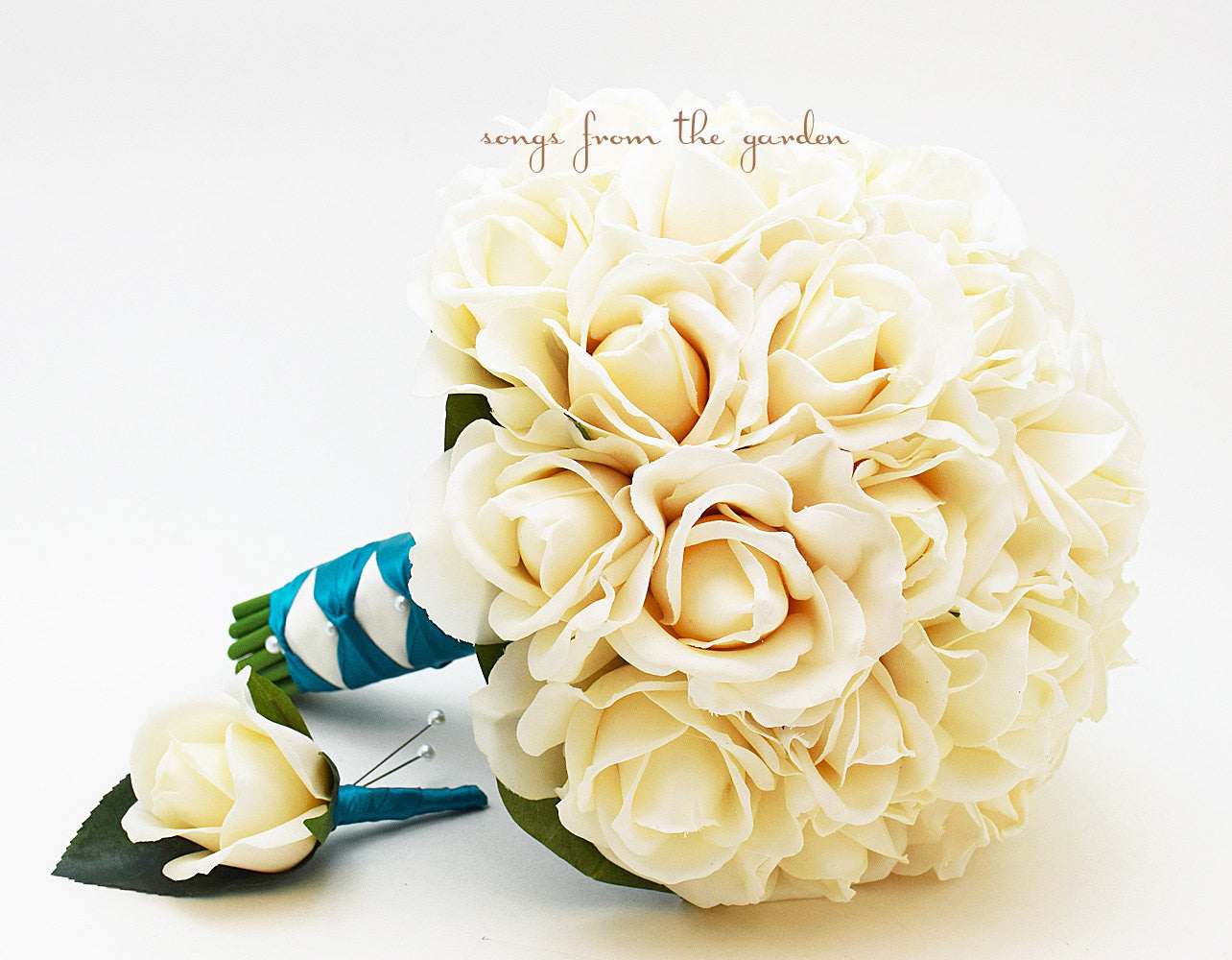 Ivory Real Touch Roses Bridal Bouquet Groom's Boutonniere with Teal Ribbon